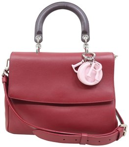 DIOR Be Double Leather Satchel in Deep Red