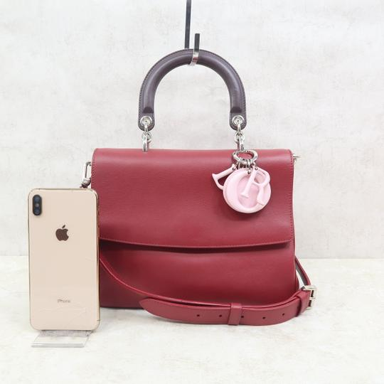 DIOR Be Double Leather Satchel in Deep Red Image 1