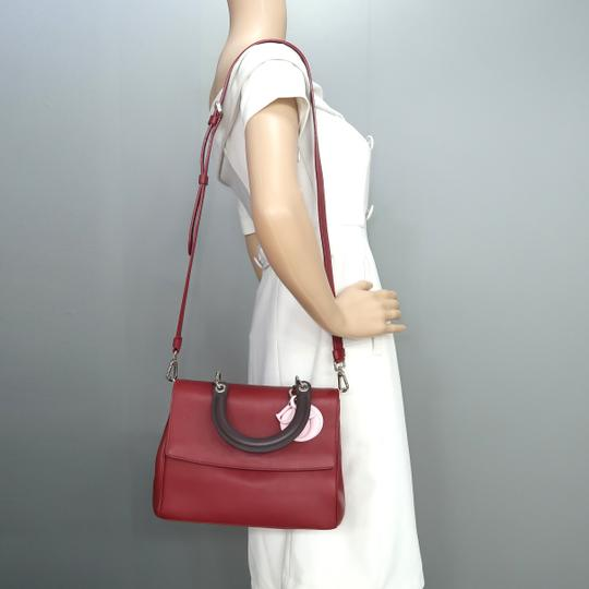DIOR Be Double Leather Satchel in Deep Red Image 11