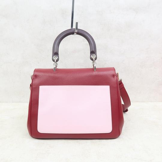 DIOR Be Double Leather Satchel in Deep Red Image 2