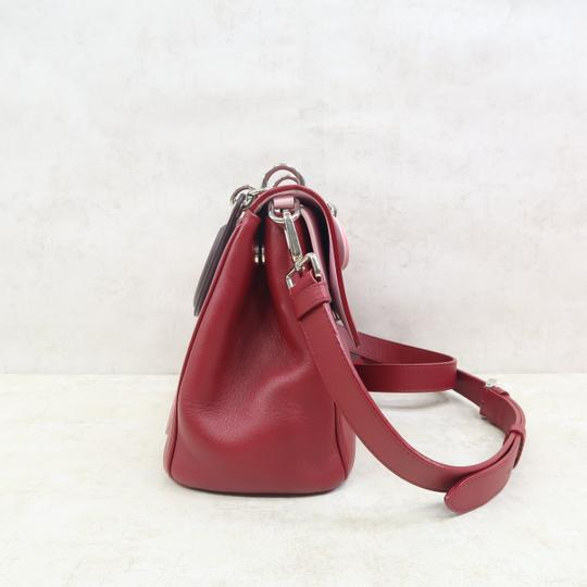 DIOR Be Double Leather Satchel in Deep Red Image 3