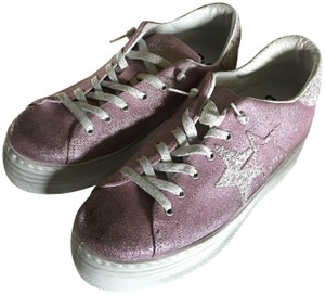 2 Star Leather Glitter Platform Heel Distressed Pink/White Athletic
