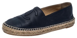 Chanel Espadrille Leather Rubber Navy Blue Flats