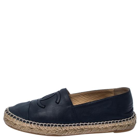 Chanel Espadrille Leather Rubber Navy Blue Flats Image 1