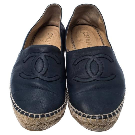 Chanel Espadrille Leather Rubber Navy Blue Flats Image 2
