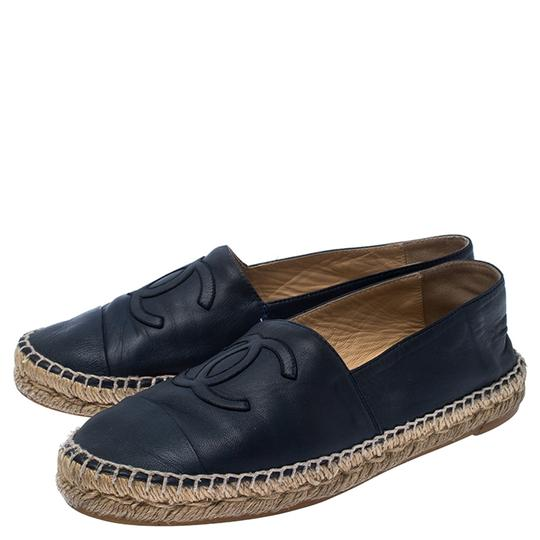 Chanel Espadrille Leather Rubber Navy Blue Flats Image 3