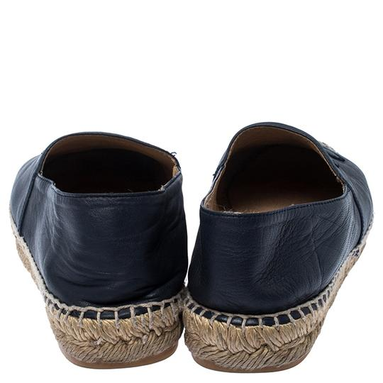 Chanel Espadrille Leather Rubber Navy Blue Flats Image 4