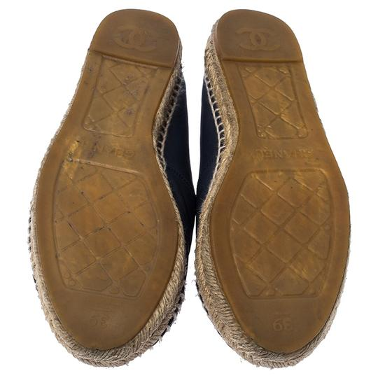 Chanel Espadrille Leather Rubber Navy Blue Flats Image 5
