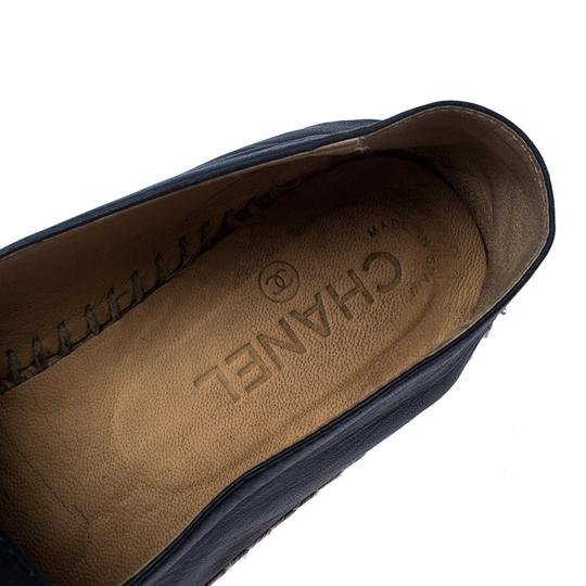 Chanel Espadrille Leather Rubber Navy Blue Flats Image 6