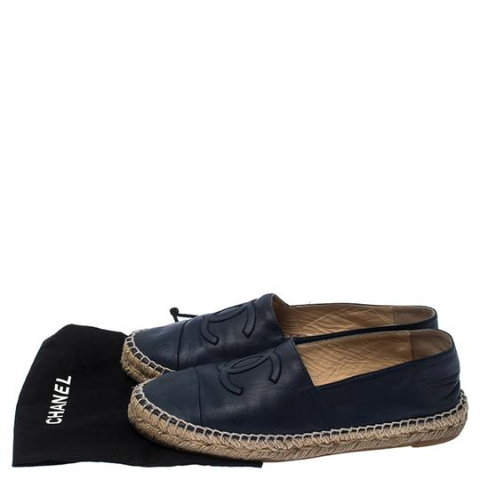 Chanel Espadrille Leather Rubber Navy Blue Flats Image 7
