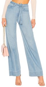 Lovers + Friends Belted Distressed Trouser/Wide Leg Jeans-Light Wash