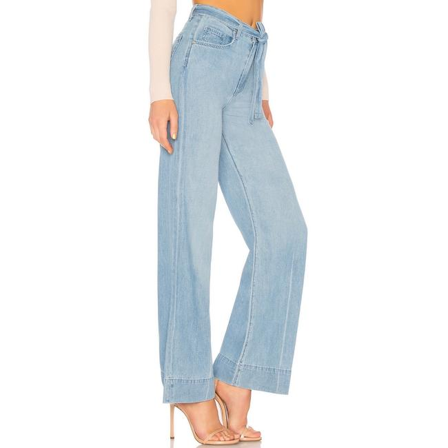 Lovers + Friends Belted Distressed Trouser/Wide Leg Jeans-Light Wash Image 1