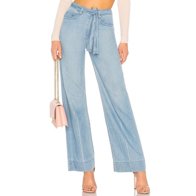 Lovers + Friends Belted Distressed Trouser/Wide Leg Jeans-Light Wash Image 2