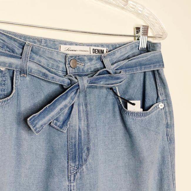 Lovers + Friends Belted Distressed Trouser/Wide Leg Jeans-Light Wash Image 7
