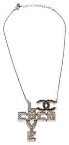 Chanel Chanel Silver Tone Crystal Embellished Love Coco Necklace