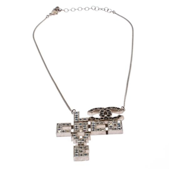 Chanel Chanel Silver Tone Crystal Embellished Love Coco Necklace Image 1