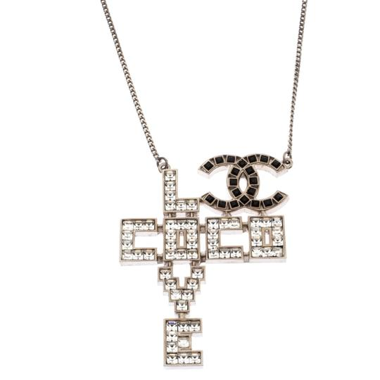 Chanel Chanel Silver Tone Crystal Embellished Love Coco Necklace Image 2