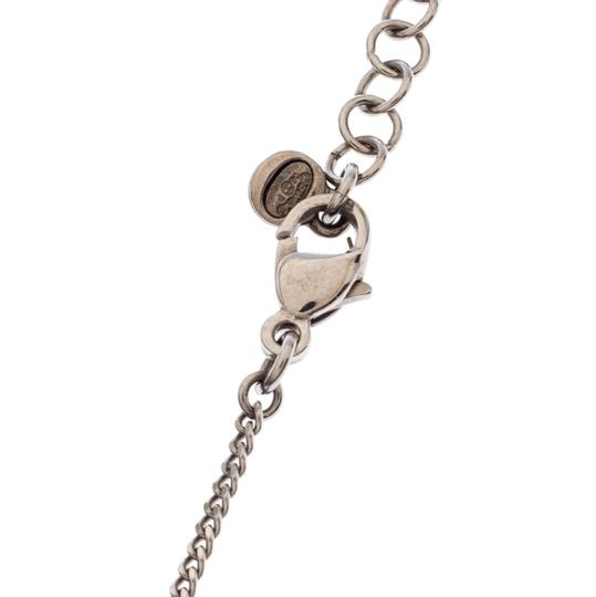 Chanel Chanel Silver Tone Crystal Embellished Love Coco Necklace Image 4