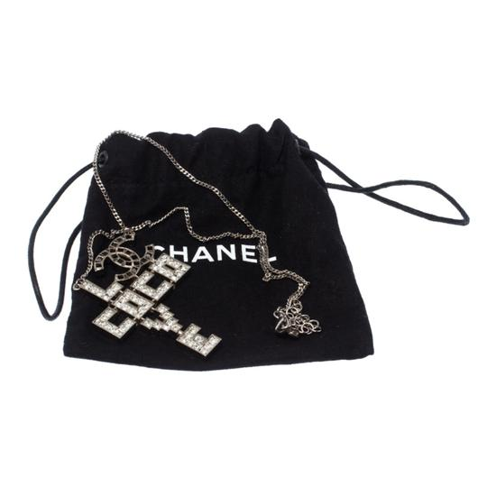 Chanel Chanel Silver Tone Crystal Embellished Love Coco Necklace Image 5