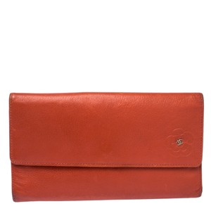 Chanel Chanel Orange Leather Camellia Trifold Wallet
