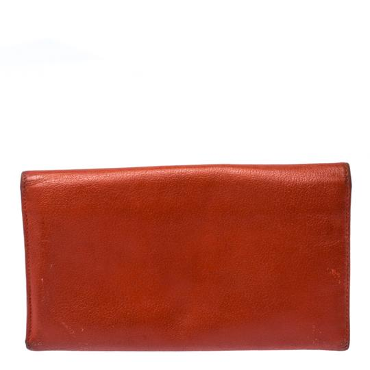 Chanel Chanel Orange Leather Camellia Trifold Wallet Image 1