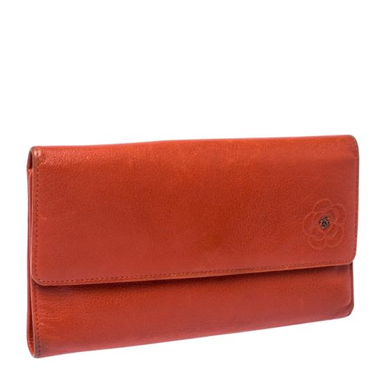 Chanel Chanel Orange Leather Camellia Trifold Wallet Image 2