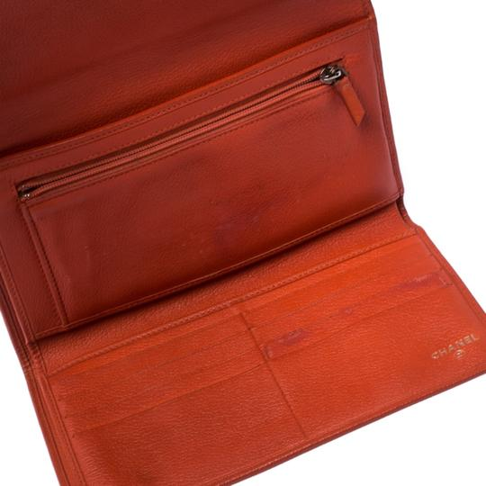 Chanel Chanel Orange Leather Camellia Trifold Wallet Image 4