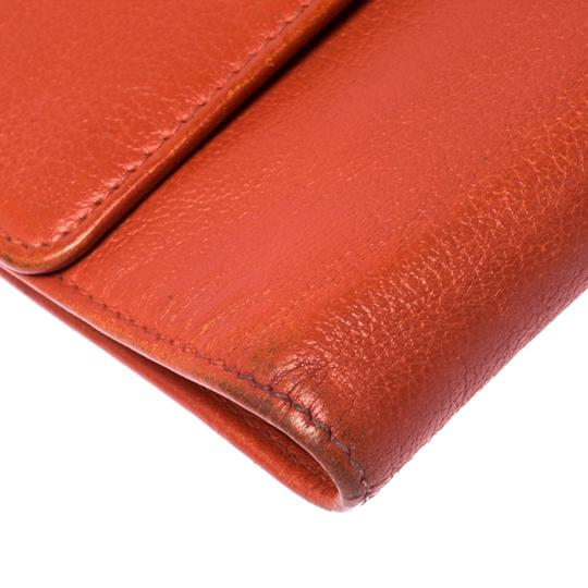 Chanel Chanel Orange Leather Camellia Trifold Wallet Image 6