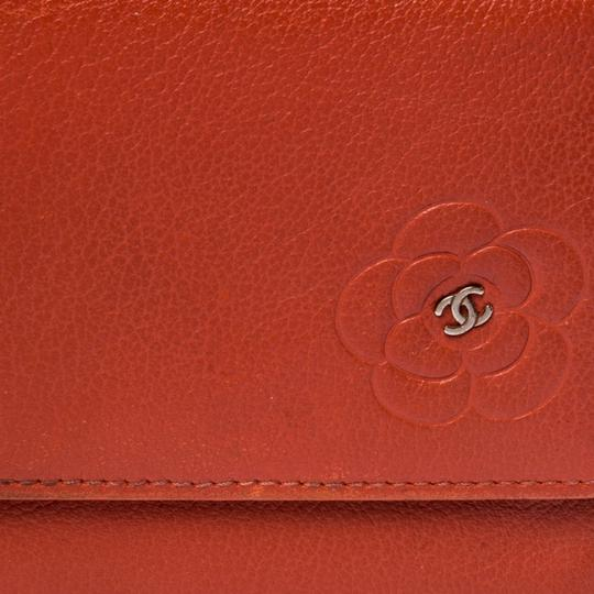 Chanel Chanel Orange Leather Camellia Trifold Wallet Image 7