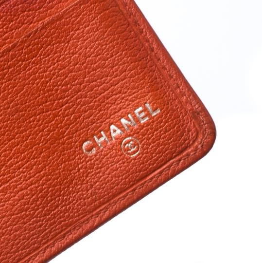 Chanel Chanel Orange Leather Camellia Trifold Wallet Image 8