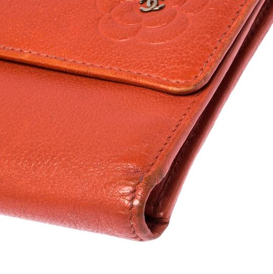 Chanel Chanel Orange Leather Camellia Trifold Wallet Image 9