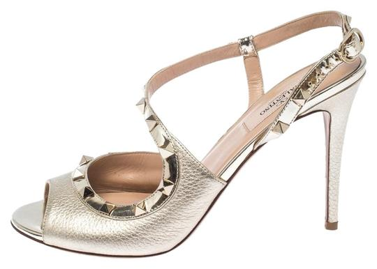 Valentino Metallic Leather Studded Ankle Strap Gold Sandals Image 0