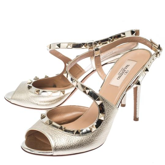 Valentino Metallic Leather Studded Ankle Strap Gold Sandals Image 3