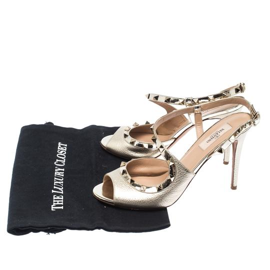Valentino Metallic Leather Studded Ankle Strap Gold Sandals Image 7