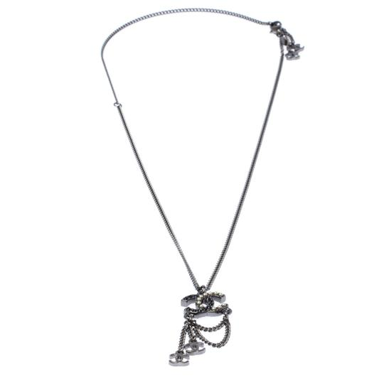 Chanel Chanel Crystal and Faux Pearl CC Gunmetal Tone Necklace Image 1
