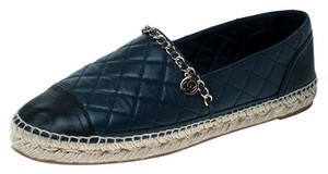 Chanel Leather Chain Espadrille Navy Blue Flats