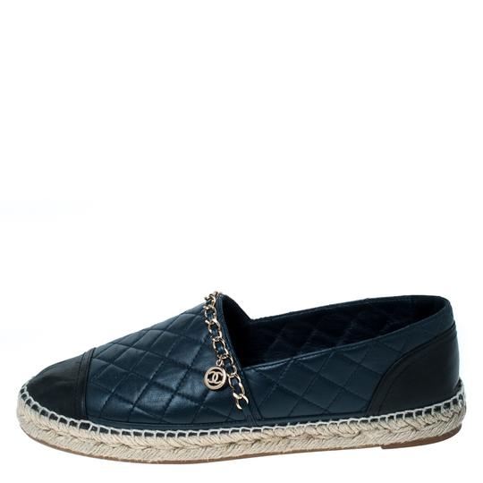 Chanel Leather Chain Espadrille Navy Blue Flats Image 1