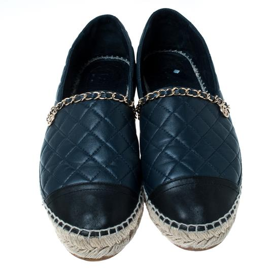 Chanel Leather Chain Espadrille Navy Blue Flats Image 2