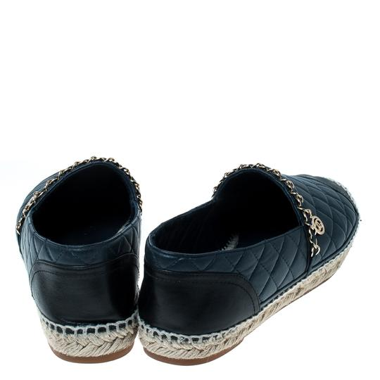 Chanel Leather Chain Espadrille Navy Blue Flats Image 3