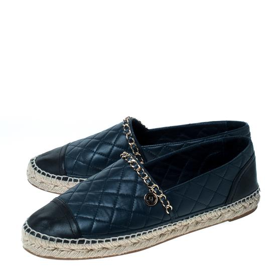 Chanel Leather Chain Espadrille Navy Blue Flats Image 4