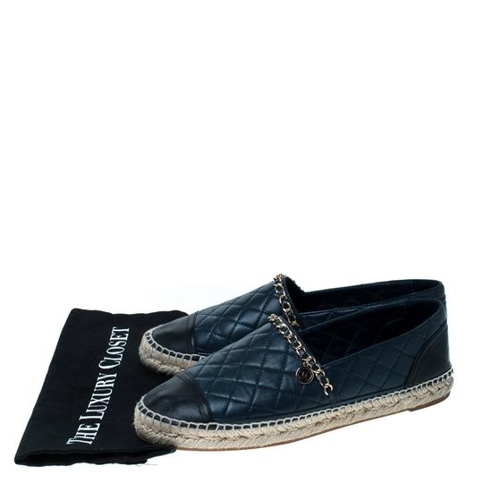 Chanel Leather Chain Espadrille Navy Blue Flats Image 6