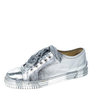 Chanel Metallic Leather Silver Athletic