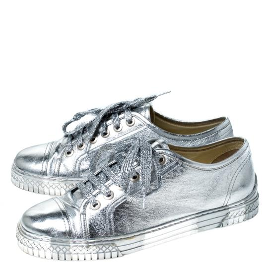 Chanel Metallic Leather Silver Athletic Image 3