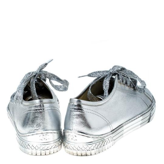 Chanel Metallic Leather Silver Athletic Image 4