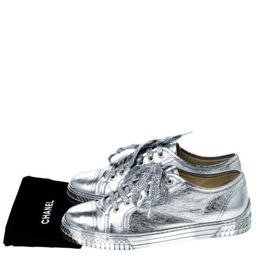 Chanel Metallic Leather Silver Athletic Image 7
