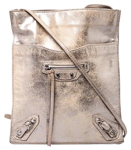 Balenciaga Metallic Leather Suede Luxury Silver Messenger Bag