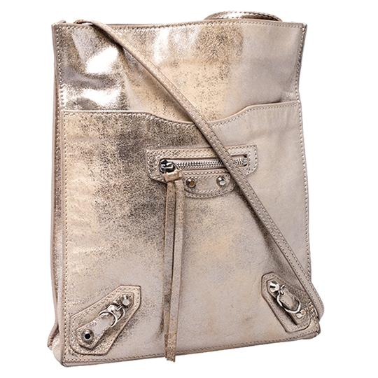 Balenciaga Metallic Leather Suede Luxury Silver Messenger Bag Image 1