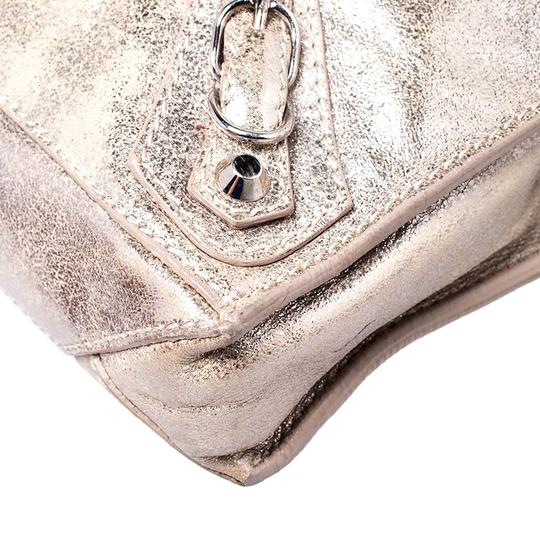 Balenciaga Metallic Leather Suede Luxury Silver Messenger Bag Image 6