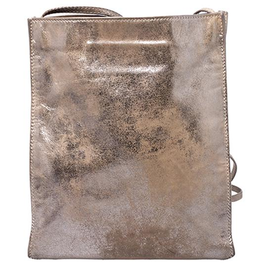 Balenciaga Metallic Leather Suede Luxury Silver Messenger Bag Image 9