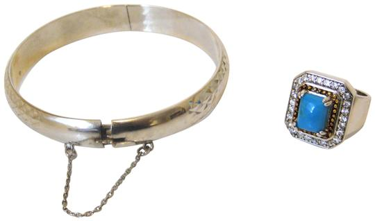Other Technibond Diamond-Cut Bangle and Created Turquoise Ring Set Image 0